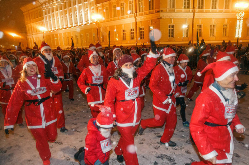 Ded Moroz Running in Saint Petersburg, Russia