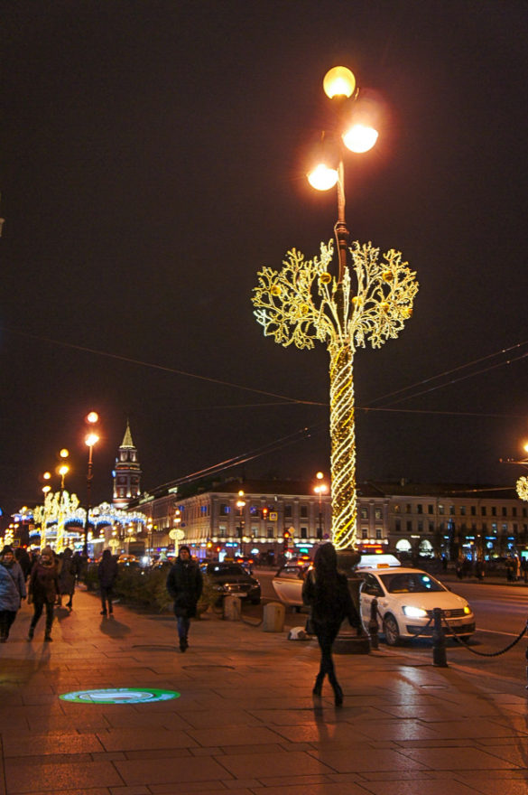 Christmas Decorations On Nevsky Prospect in St. Petersburg