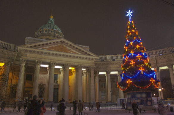 Kazan Cathedral at night