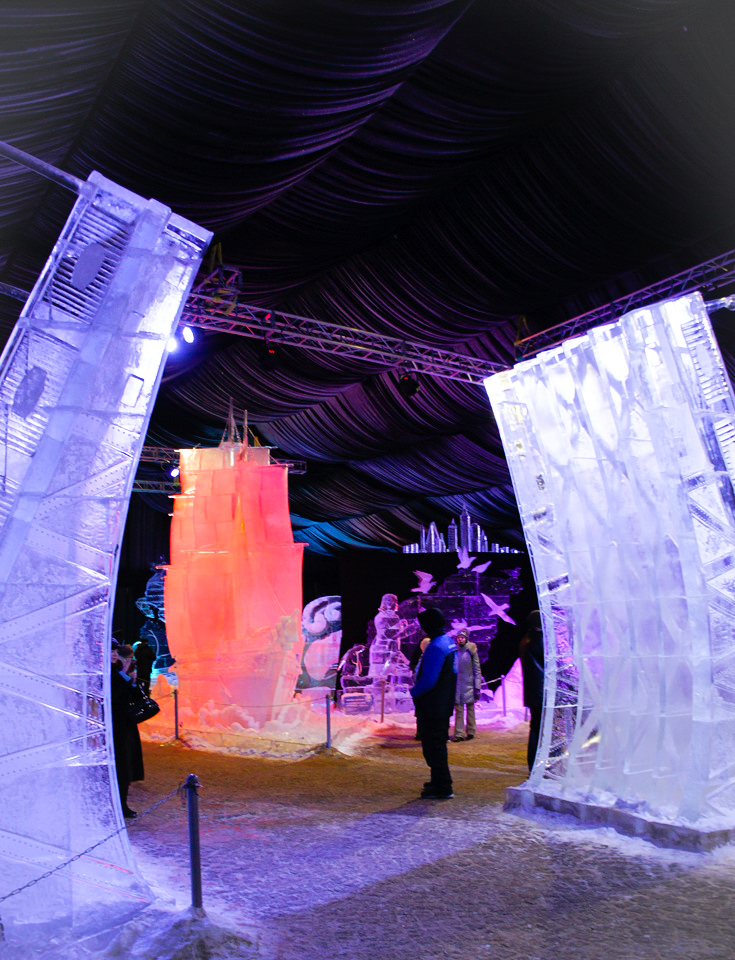 Ice sculpture festival in St. Petersburg : frozen landmarks of St. Petersburg