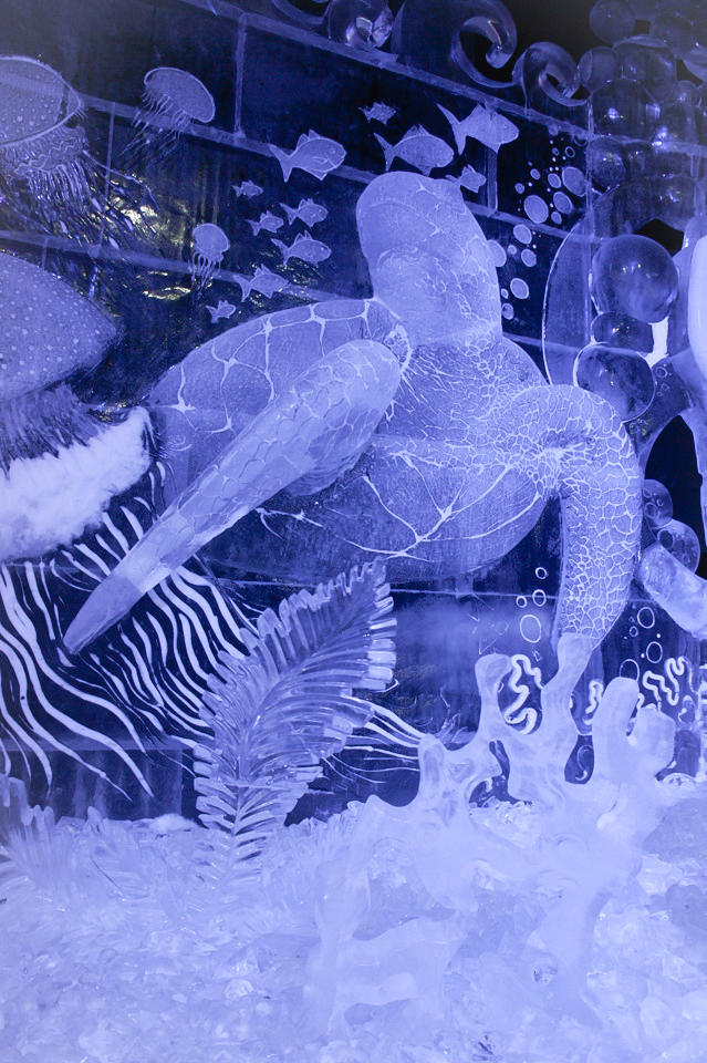 Ice sculpture festival in St. Petersburg : tribute to Australian divers