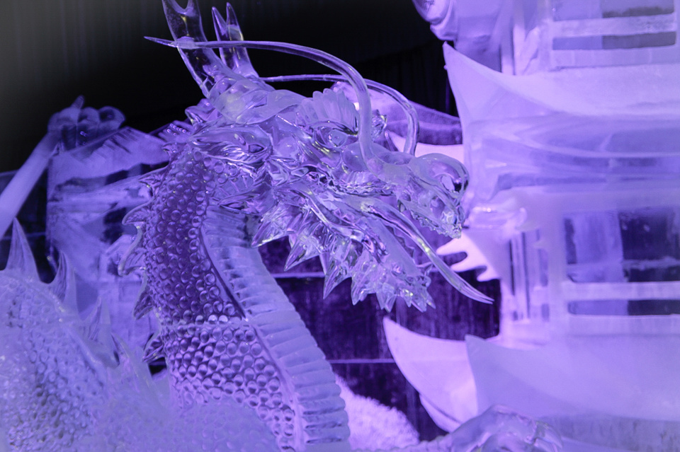 Ice sculpture festival in St. Petersburg : dragon made of ice