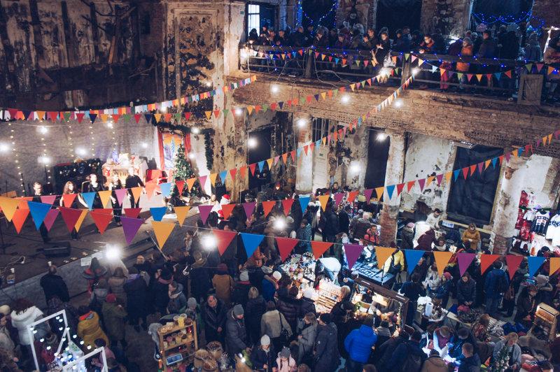 Annenkirche often hosts designer markets in St. Petersburg, Russia