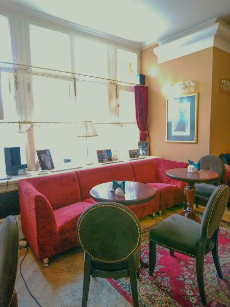 Diaghilev Cafe is a cozy place for a cup of coffee after visiting the Museum of Theatre