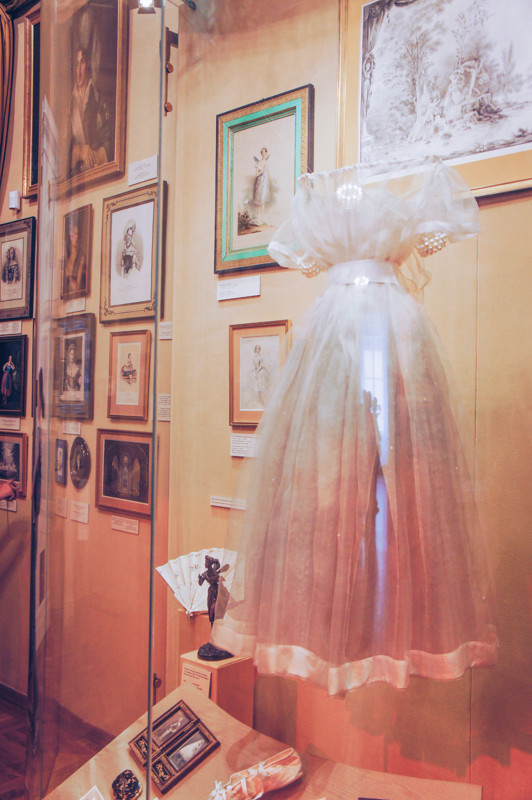 Ballet dress and personal belonging of famous ballerina Marie Taglioni in the Museum of Theatre and Music in St. Petersburg, Russia