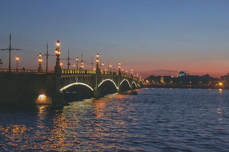 Trinity Bridge in St. Petersburg, Russia