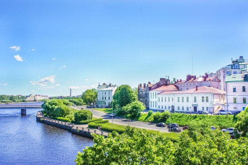 Picturesque embankment of the Old Town of Vyborg