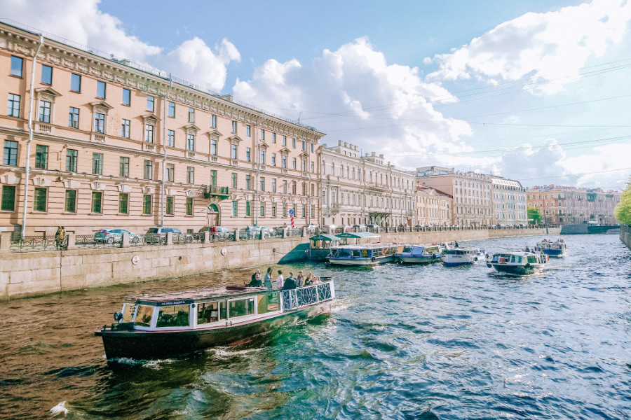 Boat trip on rivers and canals is a must in St Petersburg, Russia