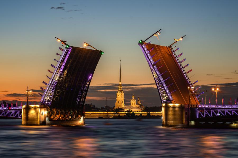 Famous drawbridges of St Petersburg, Russia