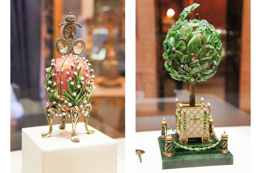 Famous Faberge eggs from the collection of the Faberge Museum in St Petersburg