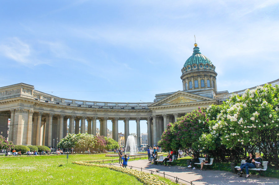 Kazan Cathedral in St Petersburg, Russia is a mus-see place of the city