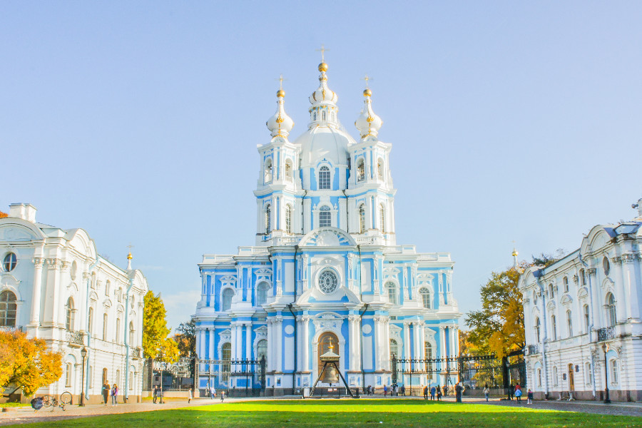Gorgeous blue-and-white Smolny Cathedral in St Petersburg, Russia