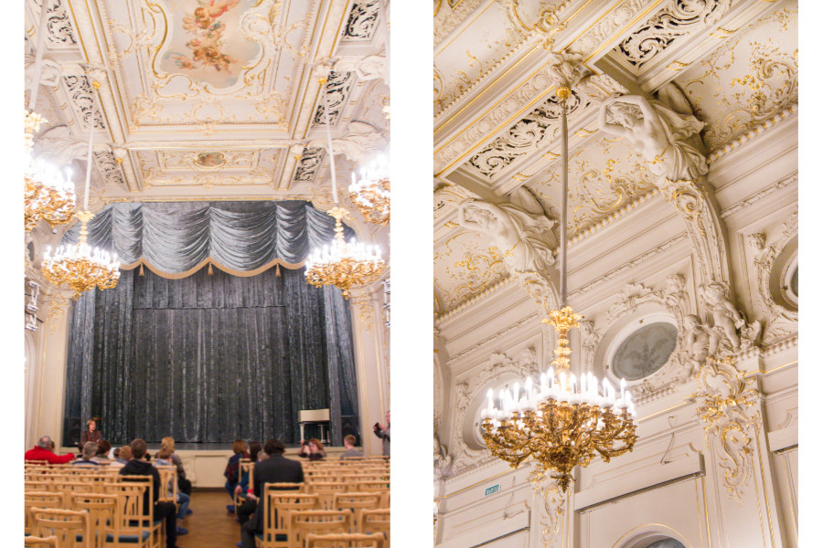 Interiors of Vladimirsky Palace in St Petersburg, Russia