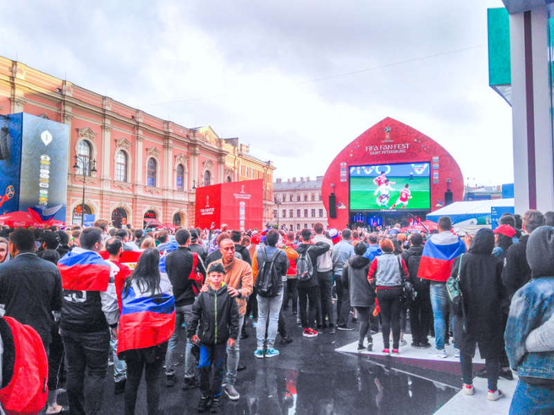 Football fan zone in Saint Petersburg Russia