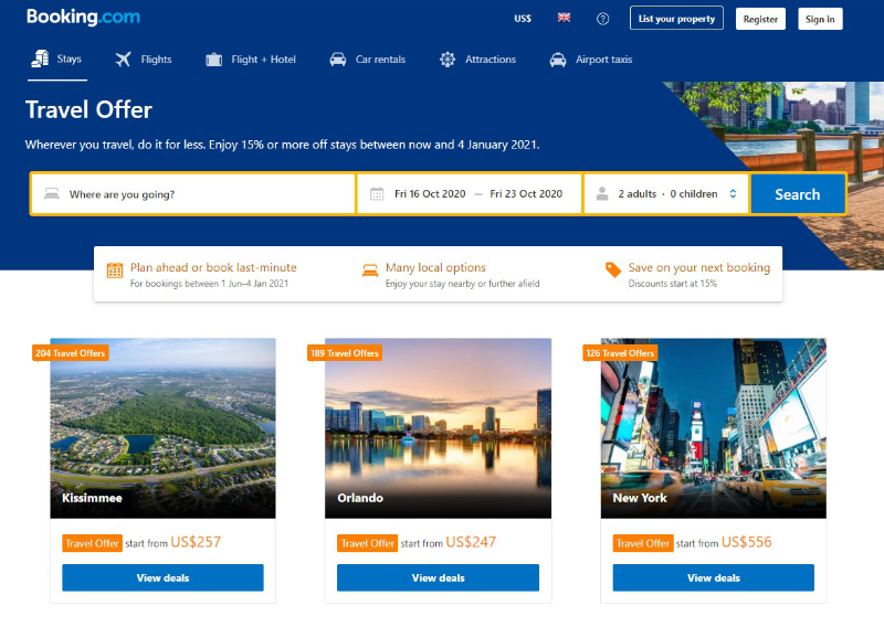 Examples of discounts on accommodations in the USA