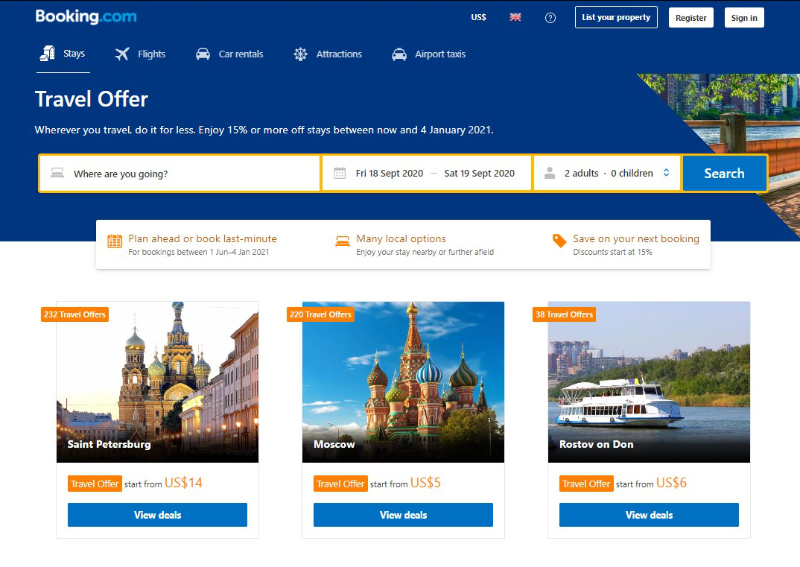 Examples of discounts on accommodations in Russia