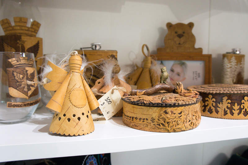 Traditional Russian souvenirs made of birch bark