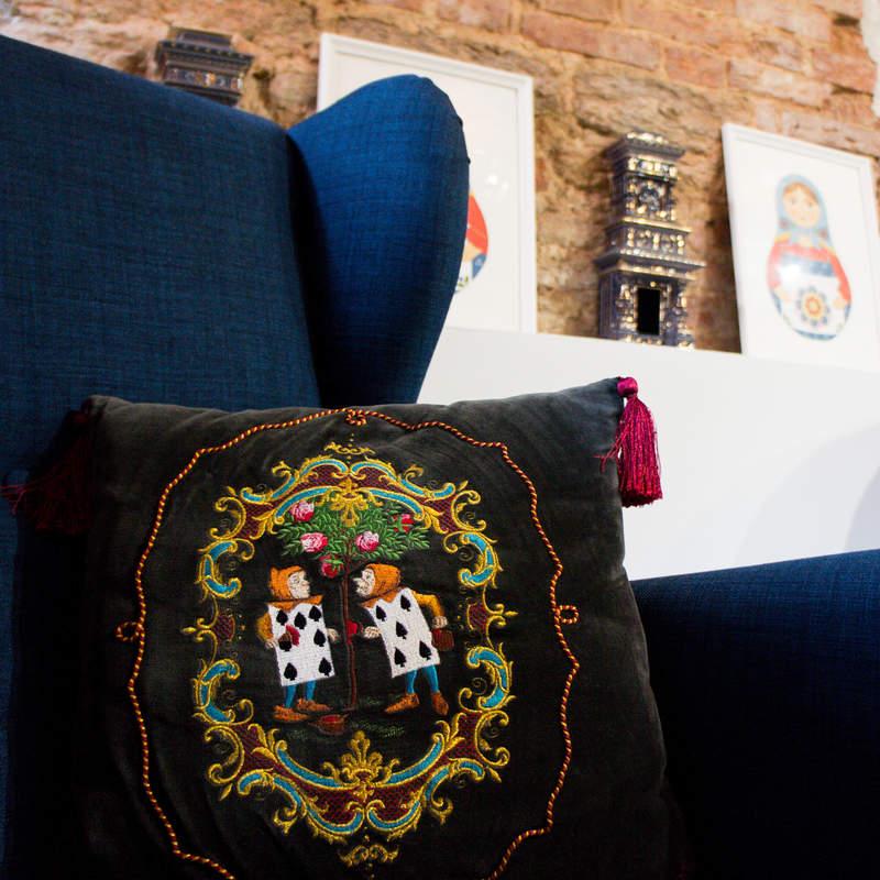 Velvet pillow with Torzhok golden embroidery