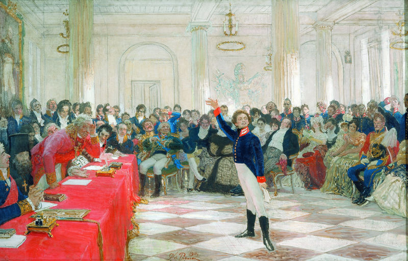 """Pushkin at the Lyceum exam in Tsarskoe Selo on January 8, 1815""(1911) by Ilya Repin"