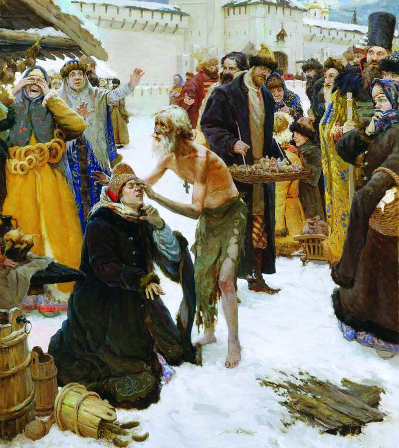 """""""Moscow Holy Fool Vasily the Blessed"""" by contemporary Russian painter Vitaly Grafov"""