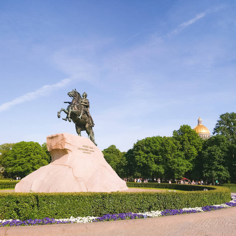 The Bronze Horseman is the monument to Peter the Great, Russian Emperor who founded Saint Petersburg