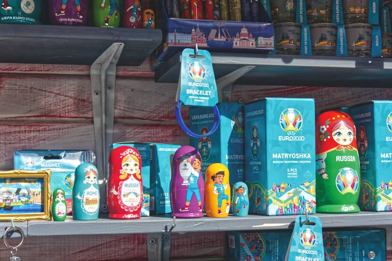 Traditional Russian souvenirs — matryoshka, EURO 2020 style