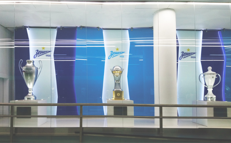 New football metro station of Saint Petersburg — Zenit. The decorations is a tribute to the city's FC Zenit and its victories.