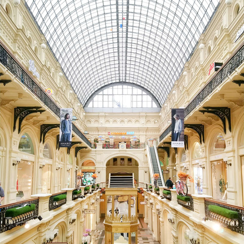 GUM is the largest and the most picturesque department store in Moscow, Russia