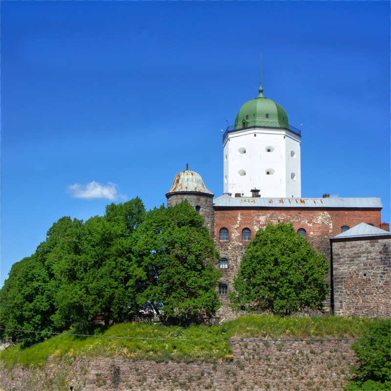 Vyborg Castle and the tower of Saint Olaf are symbols of the city